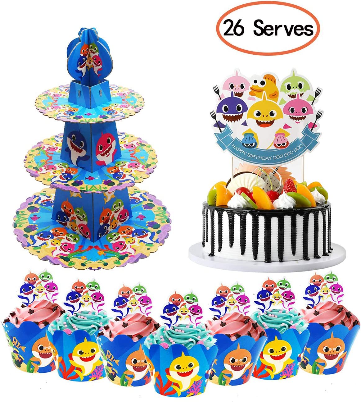 Shark Cake Stand Birthday Party Supplies for Baby Cupcake Topper and Wrapper Dessert Cupcake Holder for Kids Baby Birthday Party, Baby Shower, Shark Themed Party Decorations 26 Serves