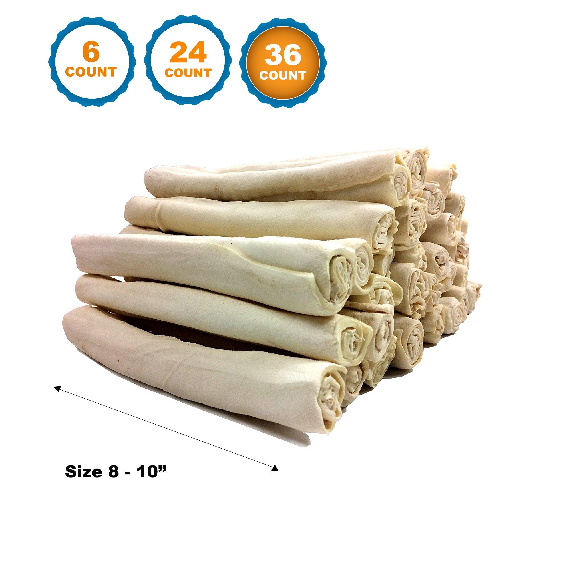 Rawhide Retriever Roll Bulk - 100% Natural Rawhide Roll Dog Treats (8-10 Inches, 36 Count)