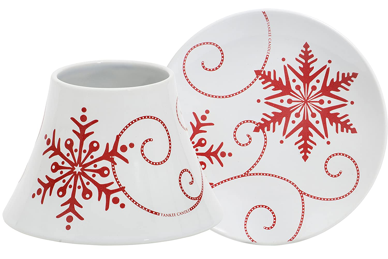 Yankee Candle Paralume e Piattino Fiocchi di Neve in Ceramica per Giaragrande