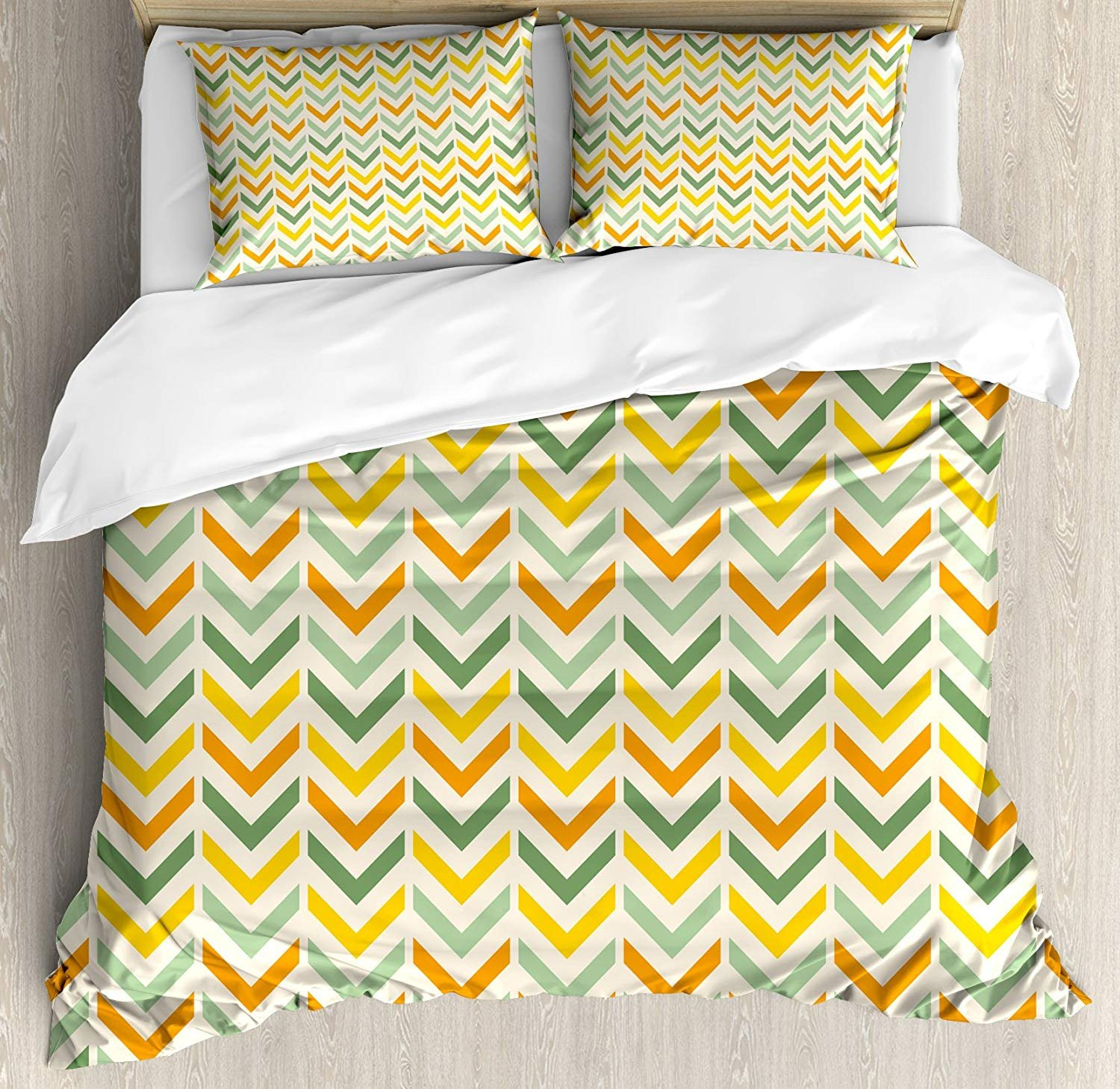Anzona Full Size Chevron 3 PCS Duvet Cover Set, Retro Countryside Colors Zigzags in Vertical Direction Striped Composition, Bedding Set Bedspread for Children/Teens/Adults/Kids, Green Yellow Orange