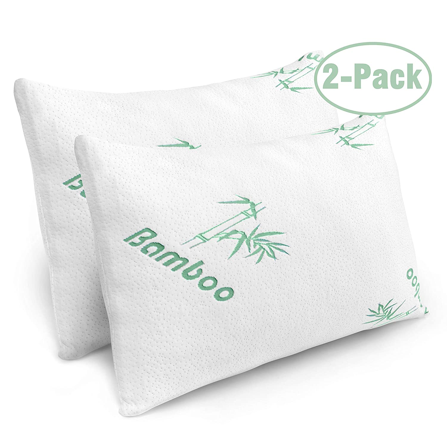 Plixio Pillows for Sleeping - 2 Pack Cooling Shredded Memory Foam Bed...