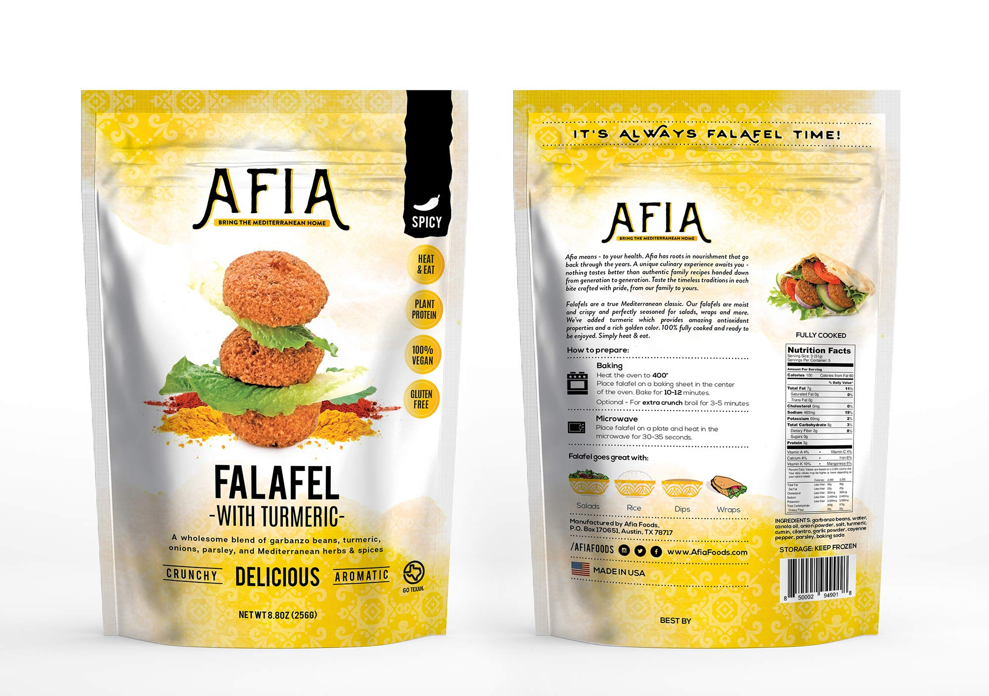Vegan/Gluten Free Frozen Spicy Turmeric Falafel Bundle - Pack of (10) bags - (approx 140 count) - Just Heat & Eat!