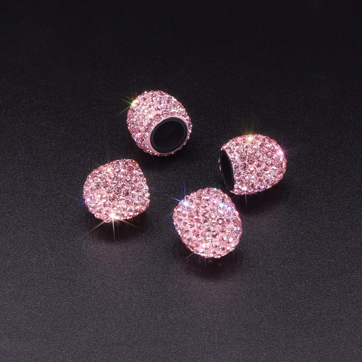 Y-SPACE 4 Pieces bling tire valve caps Handmade Crystal Rhinestone Tire Valve Dust Caps Car Accessories Pink