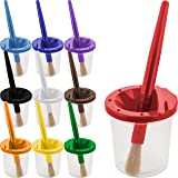 U.S. Art Supply 10 Piece Children's No Spill Paint Cups with Colored Lids and 10 Piece Large Round Brush Set with…