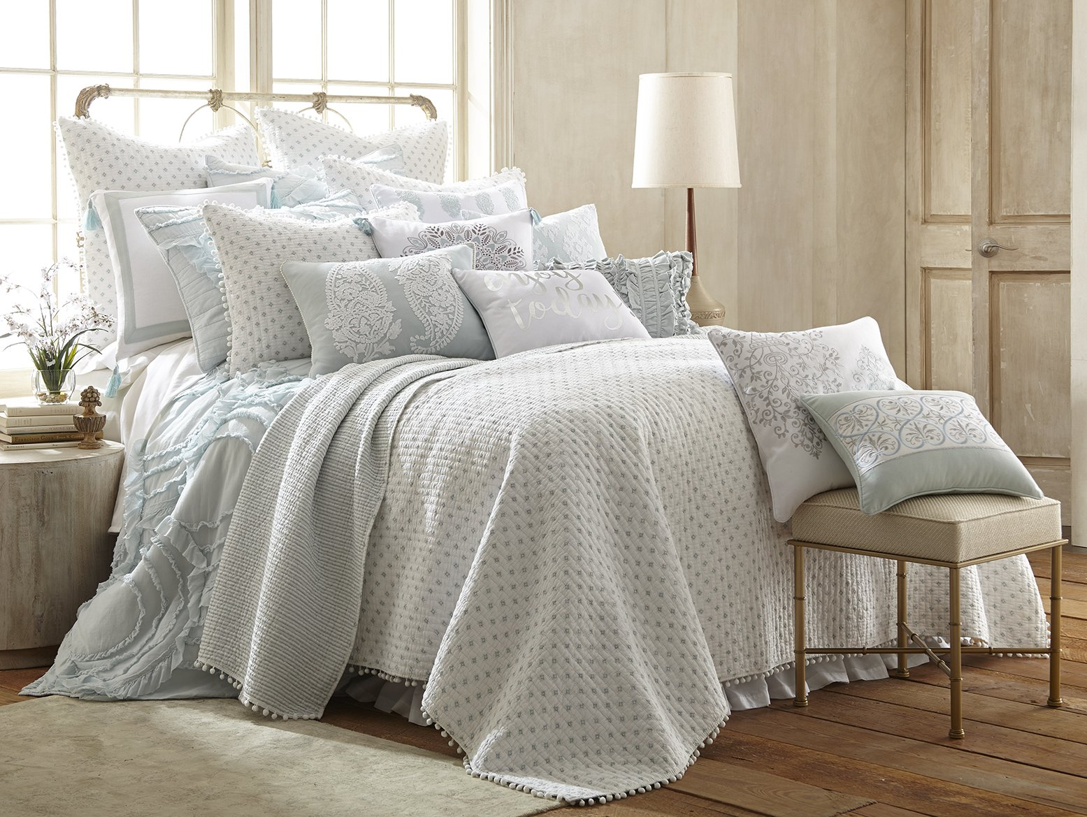 Layla Ditsy King Quilt Set, White/Spa, with Pom Poms