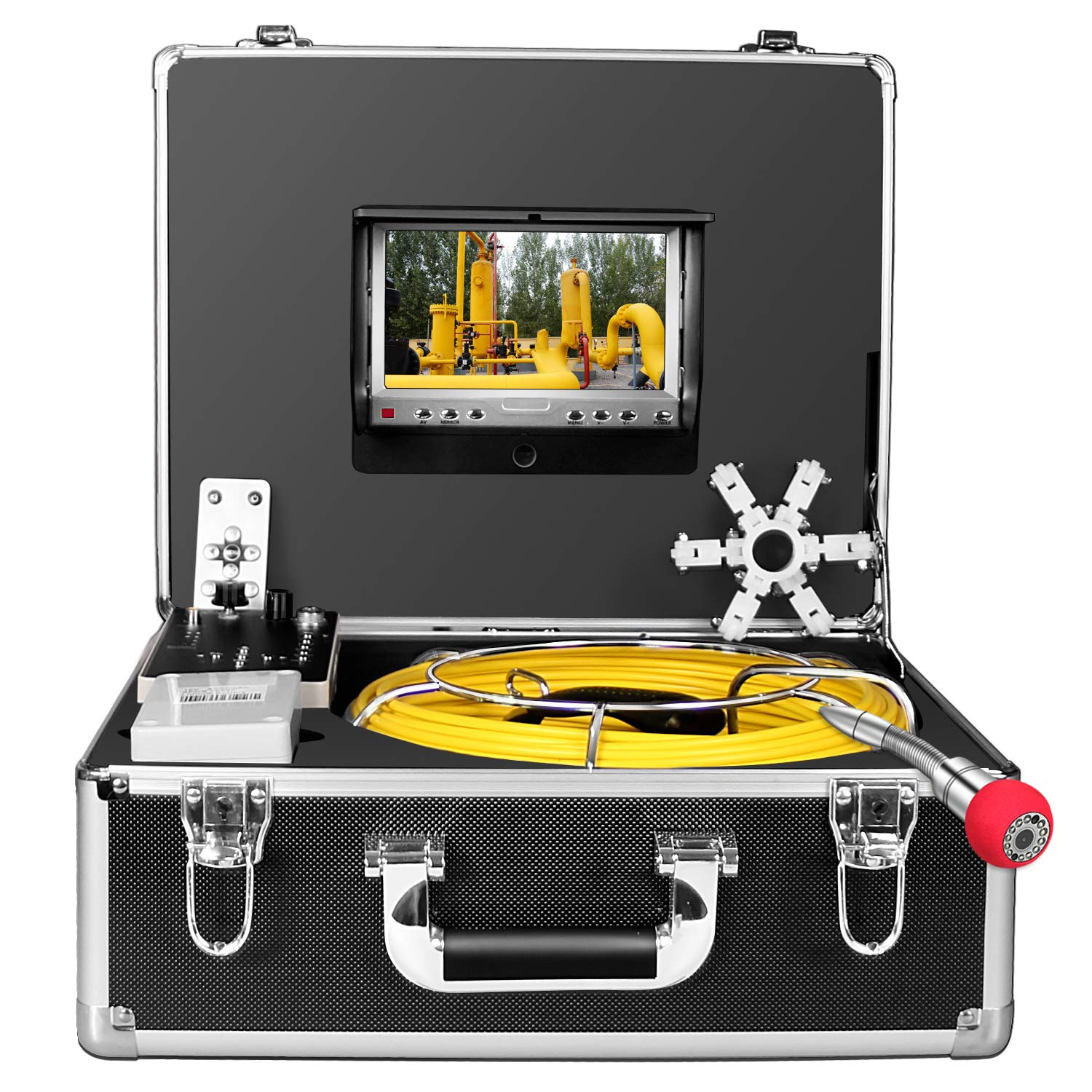 Pipe Camera,IHBUDS Sewer Camera 30M 100ft Cable Pipe Inspection Camera with DVR Recorder Video System 7 Inch TFT LCD Monitor 1000TVL Sony CCD Plumbing Camera Industrial Endoscope 30M-with DVR