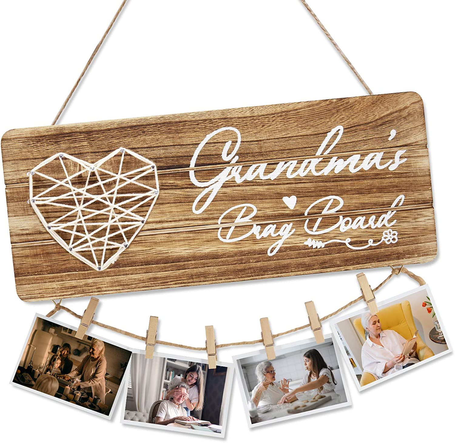 Grandma Gifts Photo Holder, Rustic Grandma's Brag Board Sign Decor Wooden Hanging with Clips and Twine, Wooden Signs for Wall Plaques Gifts Photo Hanging for Grandma from Granddaughter and Grandson