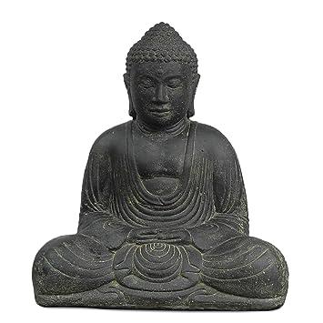 Buddha Steinfigur sitzend Skulptur Japan Stein Figur Statue Garten ...