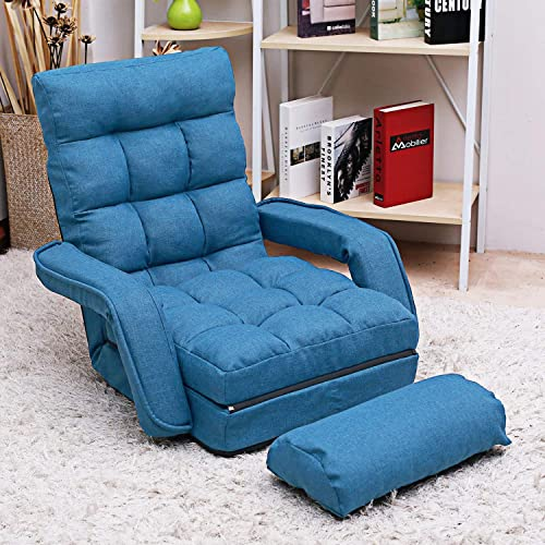 Sandinrayli Adjustable Blue Fabric Folding Chaise Lounge Sofa Chair Floor Couch with Armrest and Pillow