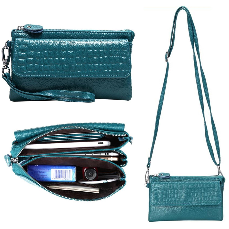 Women Soft Genuine Leather Smartphone Wristlet Purse Cell Phone Cross Body Bag Wallet Clutch Handbag with Card Slots/Shoulder Strap/Wrist Strap - for iPhone 6s Plus (Lake Blue) by Semikk