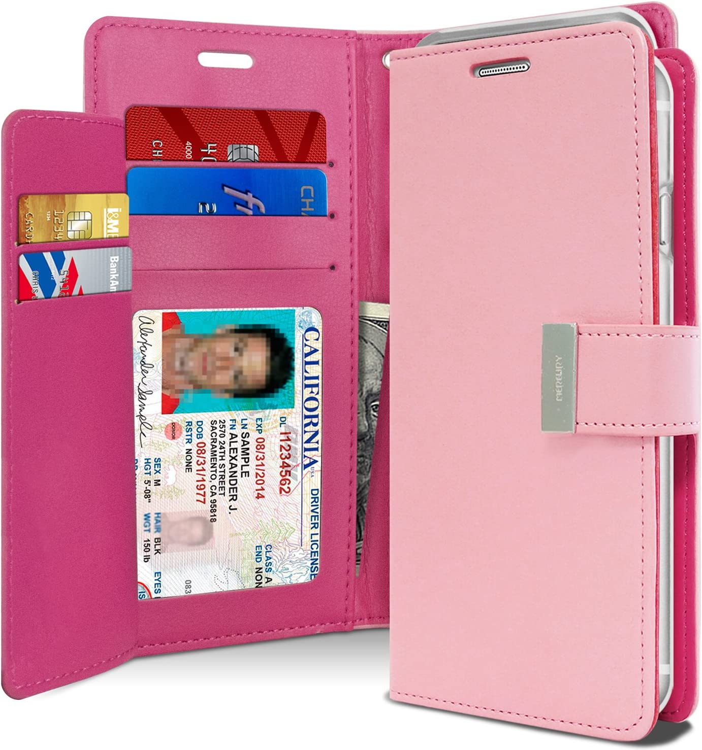 Goospery Rich Wallet for Apple iPhone Xs Case (2018) iPhone X Case (2017) Extra Card Slots Leather Flip Cover (Pink) IPX-RIC-PNK