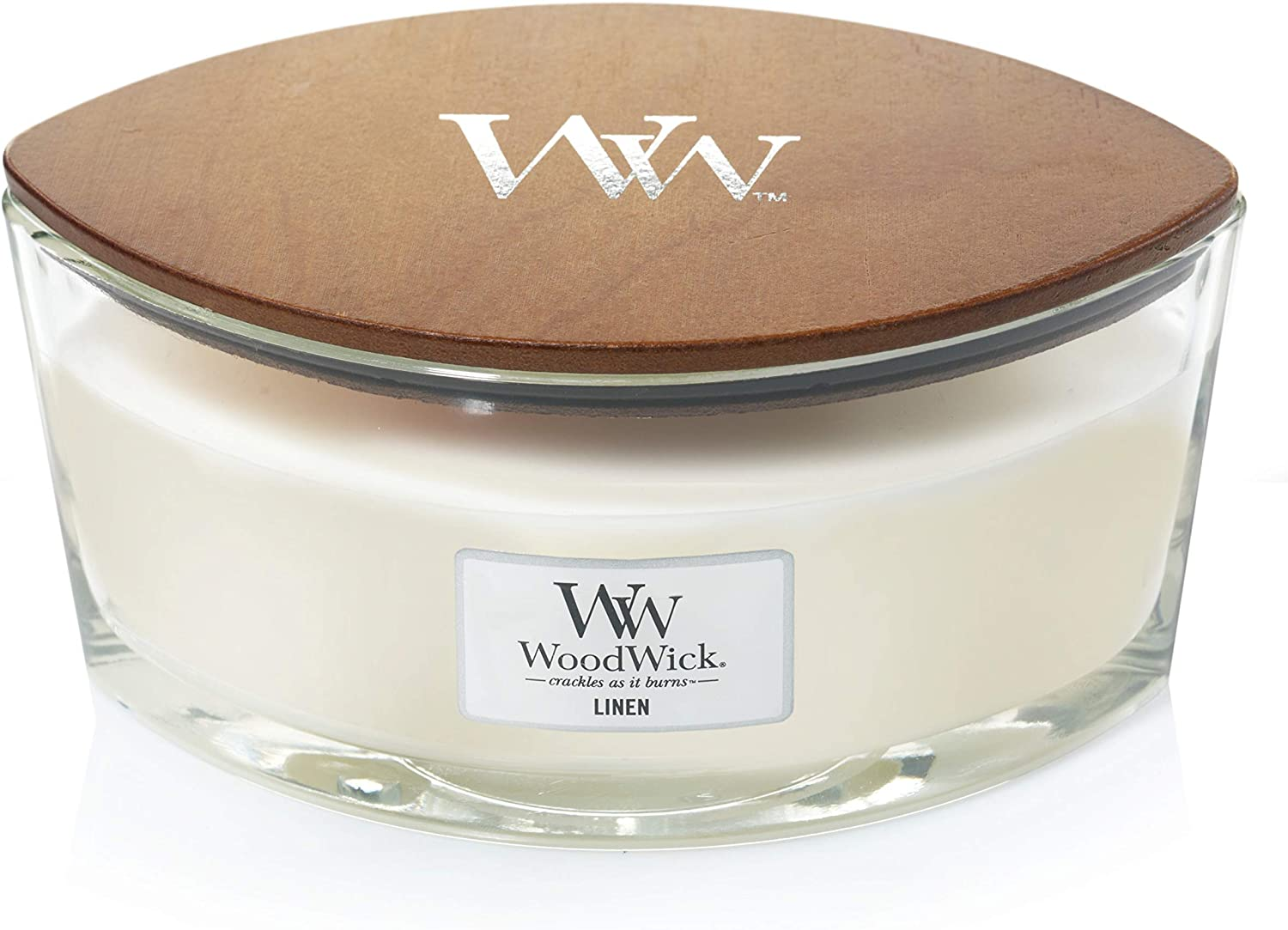 WoodWick Linen Everyday Hearthwick Candle, Ellipse, White
