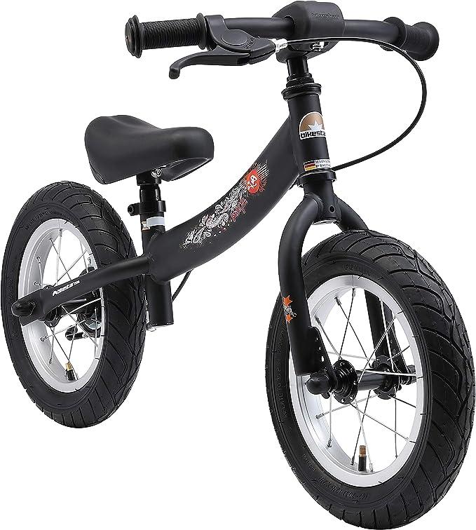 Bikestar Bicicleta de Equilibrio para Correr con Caballete Lateral y Freno para niños de 3 años | 12 Pulgadas Sport Edition | Negro (Mate): Amazon.es: Juguetes y juegos
