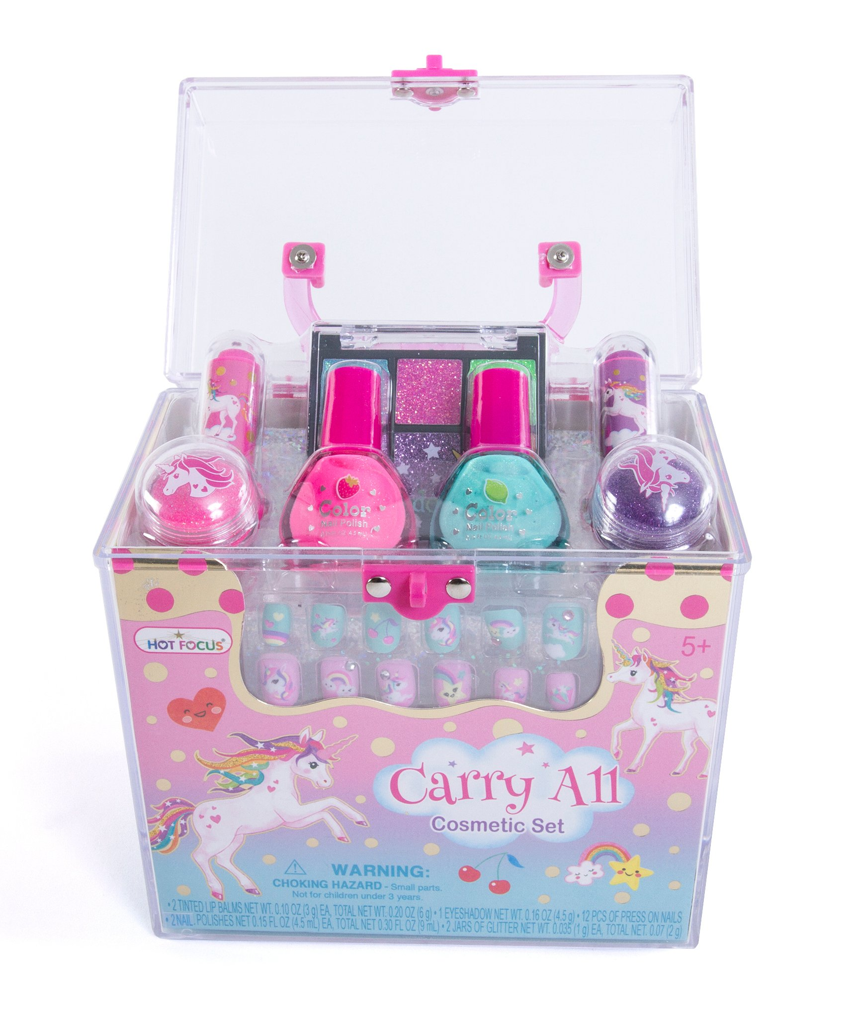 Hot Focus Carry All Cosmetic Set - 20 Piece Unicorn Makeup Set for Girls Includes, Non-Toxic Nail Polish, Press on Nails, Glitter Eyeshadow, Tinted Lip Balms, Glitter and Carrying Case 3