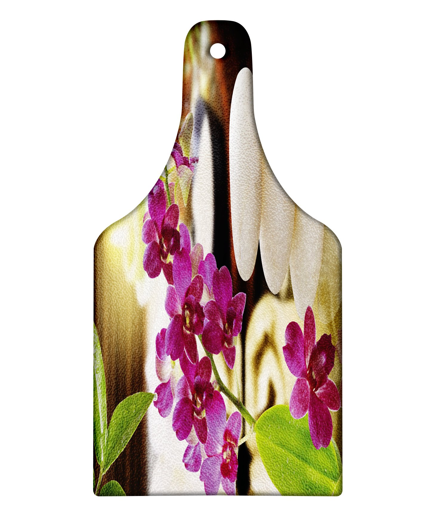 Lunarable Spa Cutting Board, Refreshing Spa Day with Stones Herbal Salts and The Exotic Flowers Print, Decorative Tempered Glass Cutting and Serving Board, Wine Bottle Shape, Purple White and Green