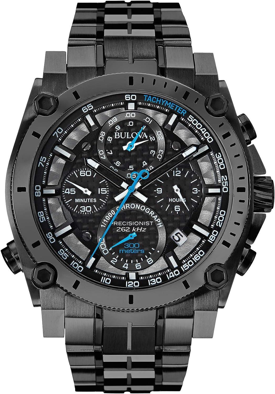 Bulova Precisionist - Reloj de pulsera para hombre con cronógrafo UHF con esfera negra y correa de acero inoxidable