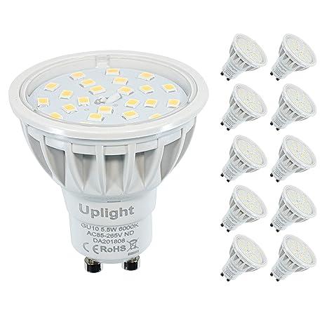 No Regulable GU10 Bombillas LED 5.5W Blanco frío 6000K Equivalente 50-60W Luz halógena RA85 600LM 120°Haz ángulo(Paquete de 10 unidades).