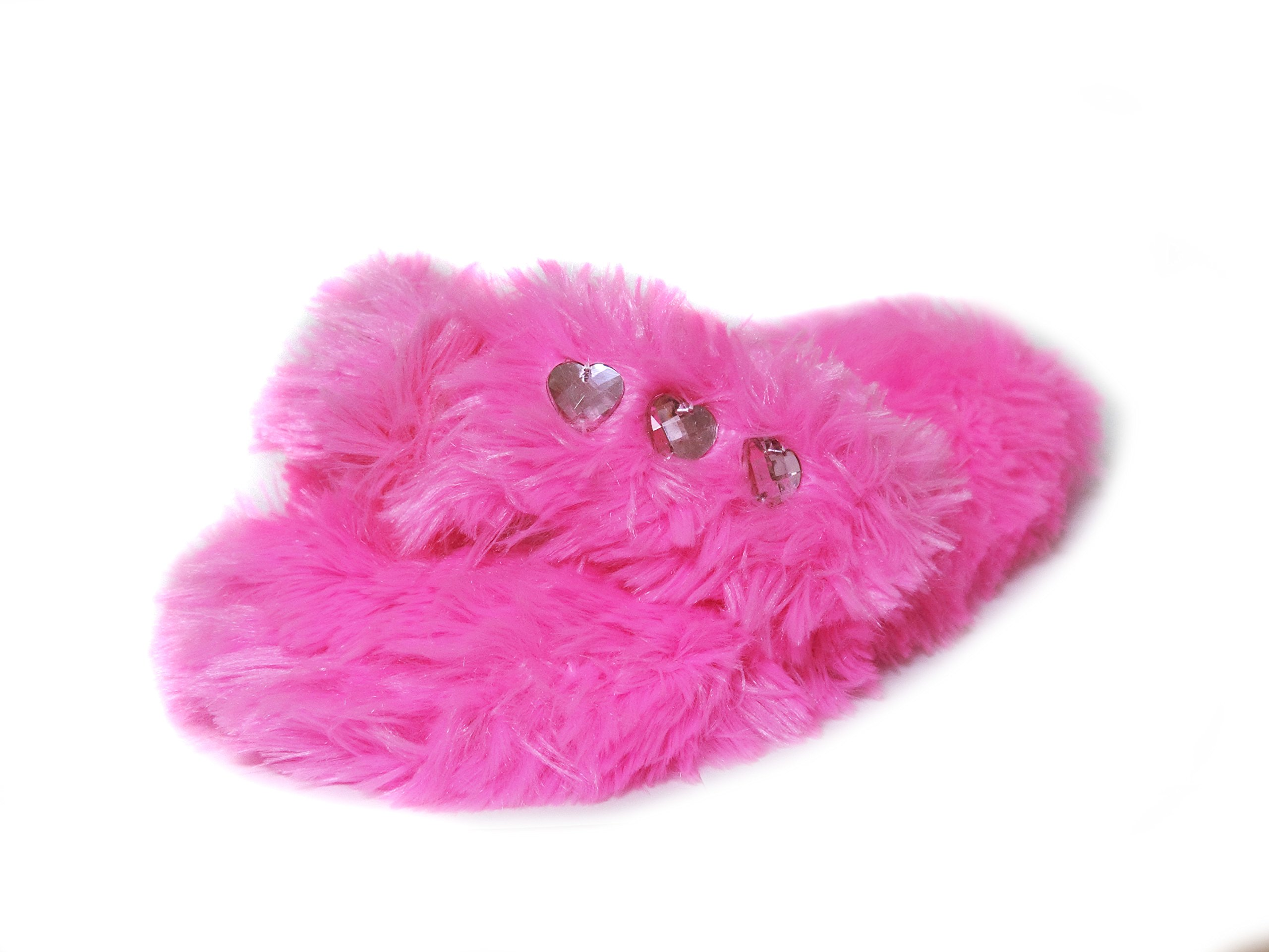 Onmygogo Girl's Bejeweled Flip Flops, Little Kid Fuzzy Indoor Princess Slippers, 3 Sizes (M-US Little Kid Size 12.5-1, Pink)