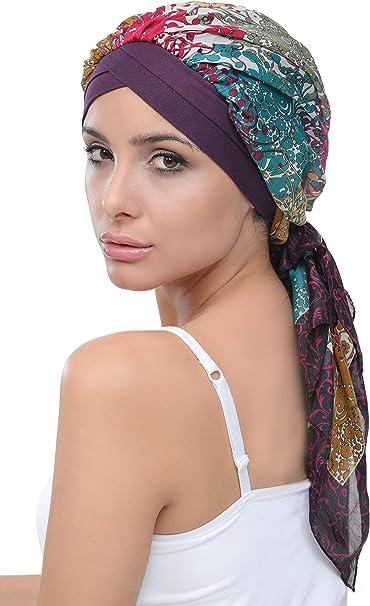 Deresina W Turbante de bambú frontal con bufanda de algodón ...