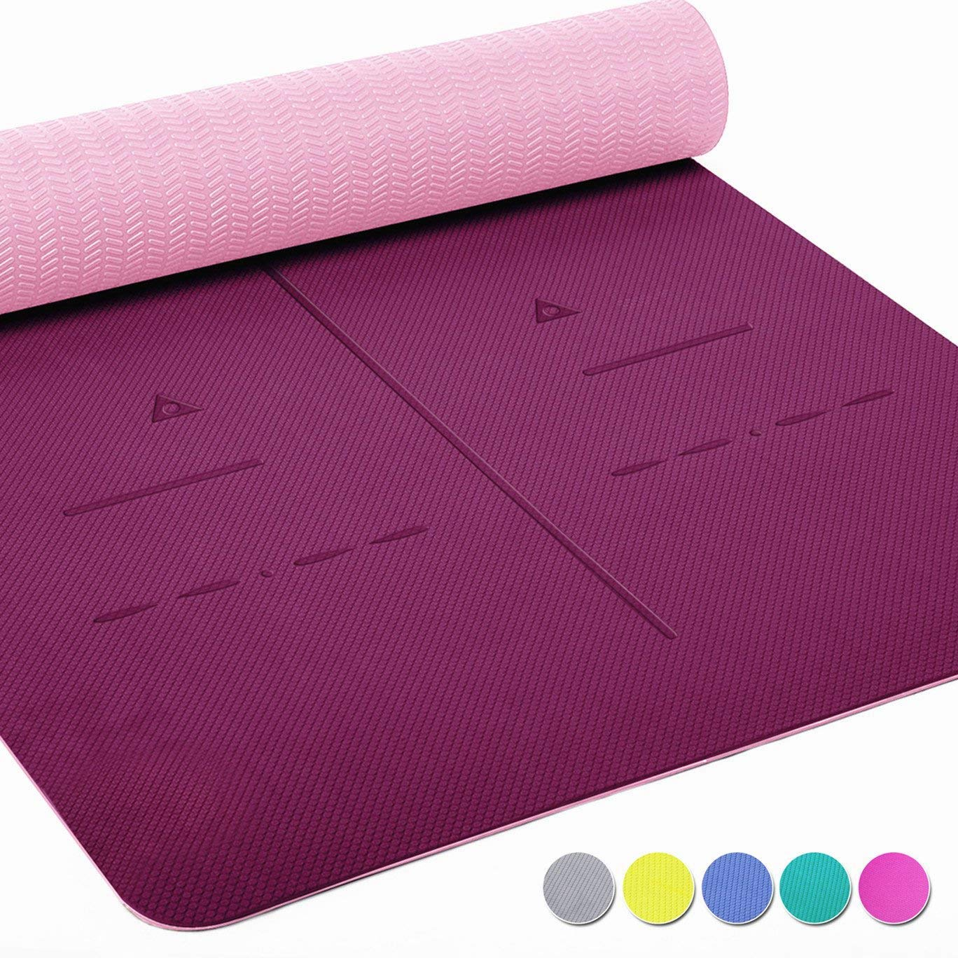 Heathyoga Eco Friendly Non Slip Yoga Mat, Body Alignment System, SGS Certified TPE Material - Textured Non Slip Surface and Optimal Cushioning,72''x 26'' Thickness 1/4'' by Heathyoga