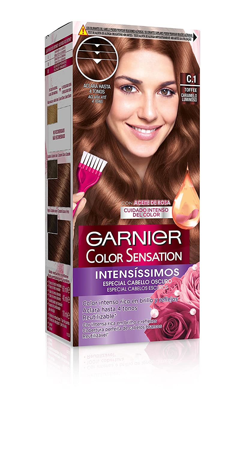 Garnier Color Sensation coloración permanente e intensa reutilizable con bol y pincel - Tono: C1 Toffee: Amazon.es: Belleza