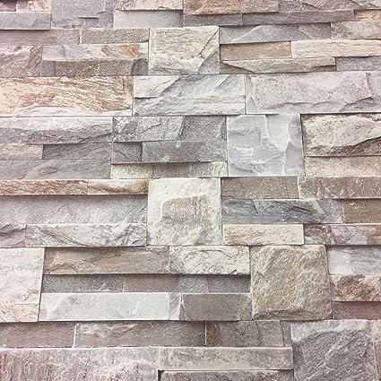 3d gris pizarra ladrillos efecto piedra papel pintado de ...