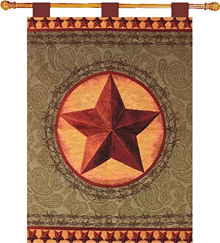Manual Western Star Lined Tapestry Wallhanging with Wood Rod HWTWSS 26×36