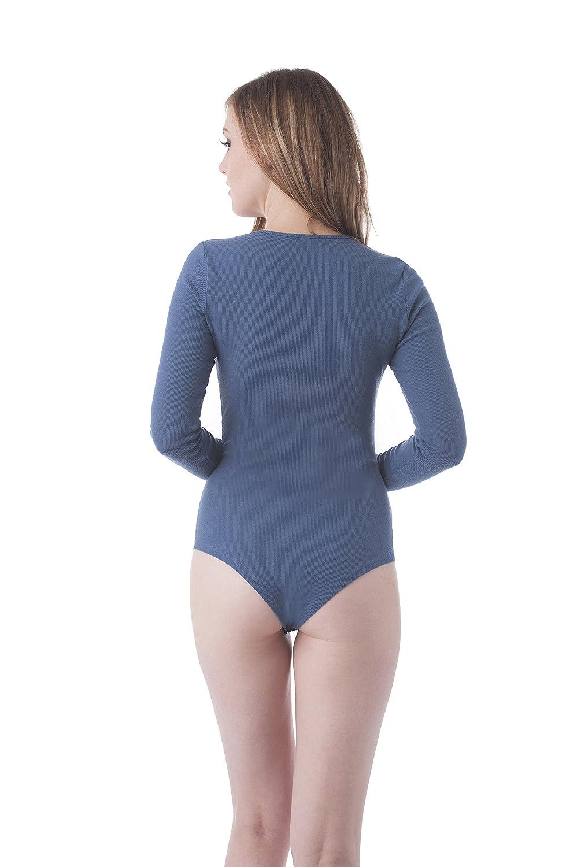 Khanomak Womens Long Sleeve Front Cut Out Bodysuit