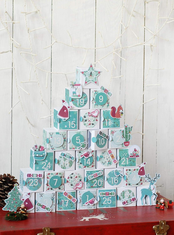 Toga un Renna A Natale Kit Calendario dell' Avvento, Carta, Multicolore, scatole quadrati bianchi 5,5x 5,5x 5,5cm KRN900