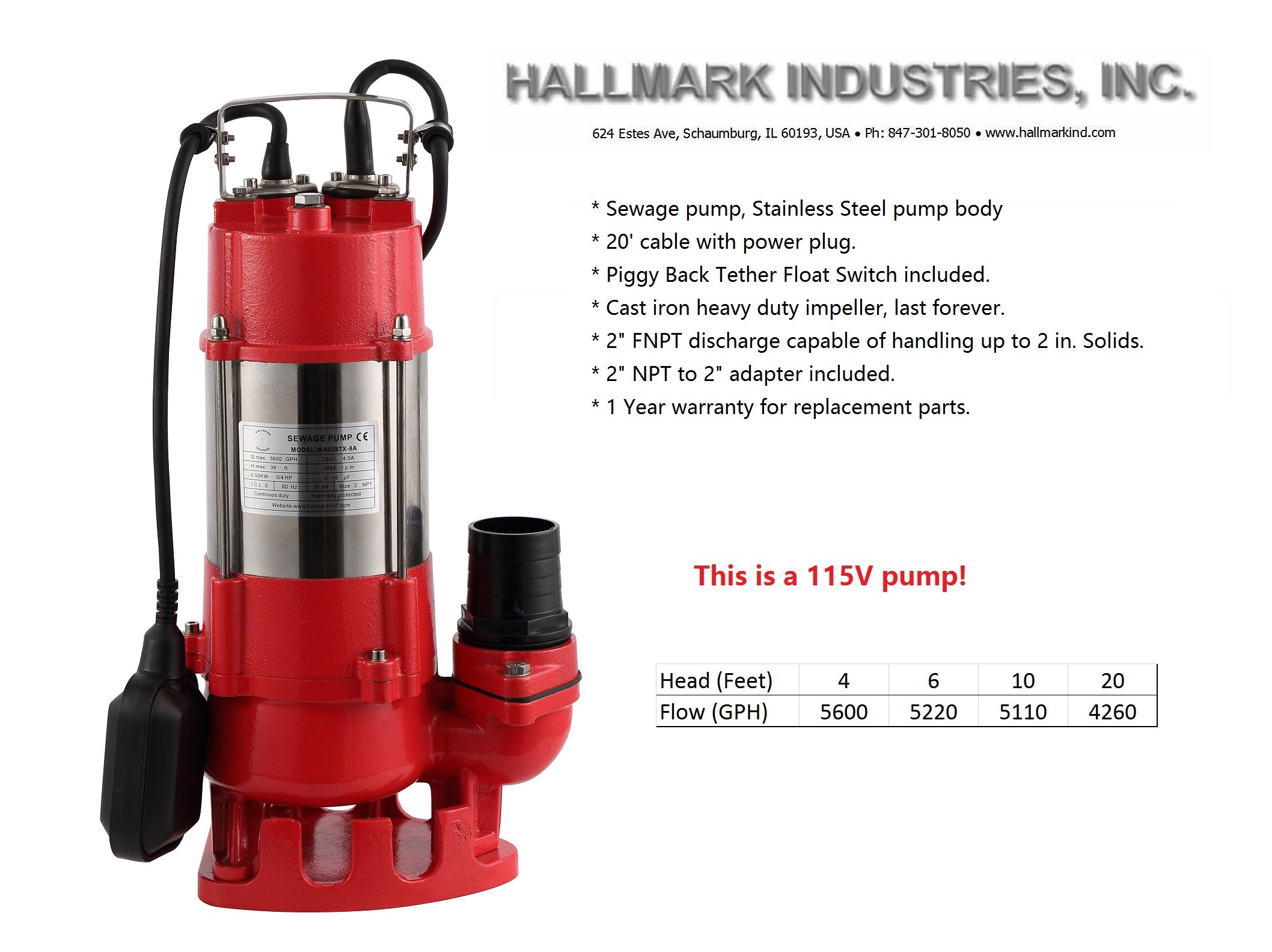 Hallmark Industries MA0387X-8 Sewage Pump with Float Switch, 5600 gpm, Stainless Steel, Heavy Duty, 3/4 hp, 115V, 38' Lift, 20' Cable by Hallmark Industries (Image #3)
