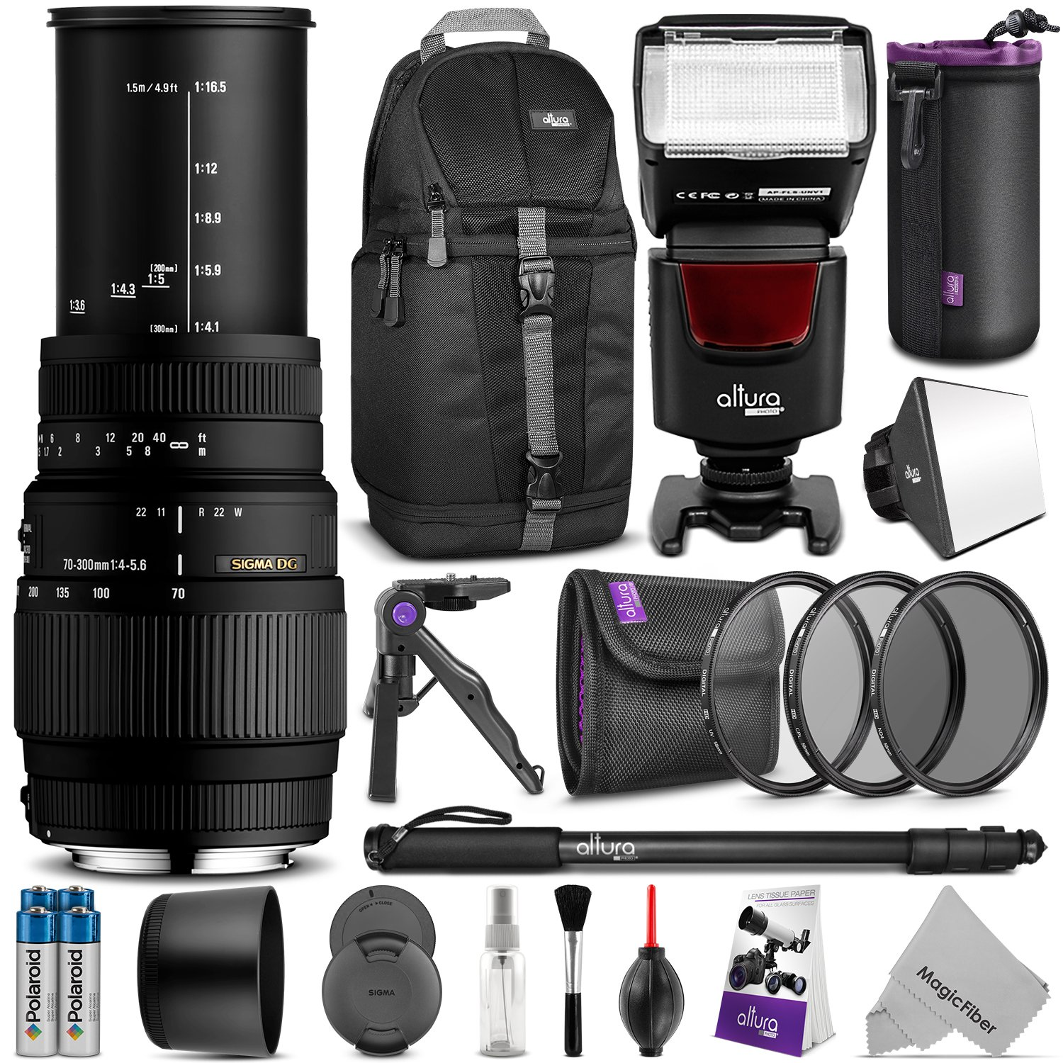 Sigma 70-300mm f/4-5.6 DG Macro Telephoto Zoom Lens for NIKON DSLR Camera w/ Complete Photo and Travel Bundle by Sigma