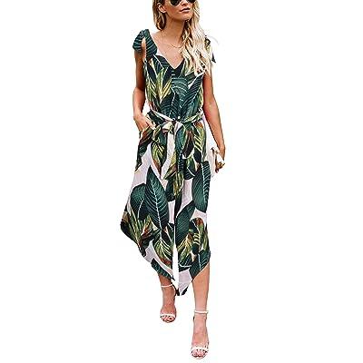 BELONGSCI Women Outfit Sleeveless Shoulder Bandage Waistband Sexy V-Neck Wide Leg Long Jumpsuit with Belt: Clothing