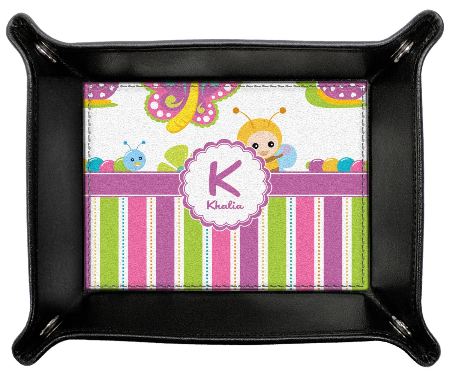 Butterflies & Stripes Genuine Leather Valet Tray (Personalized)