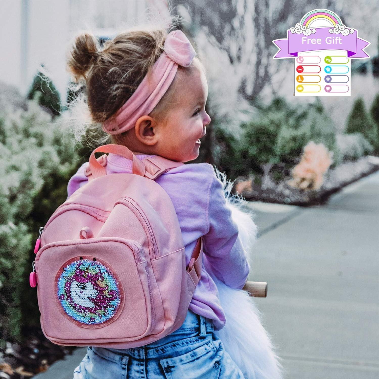 mommore Reversible Sequin Backpack Licorne Mode Toddler Backpack Voyage Enfants avec Petit Toddler Leash
