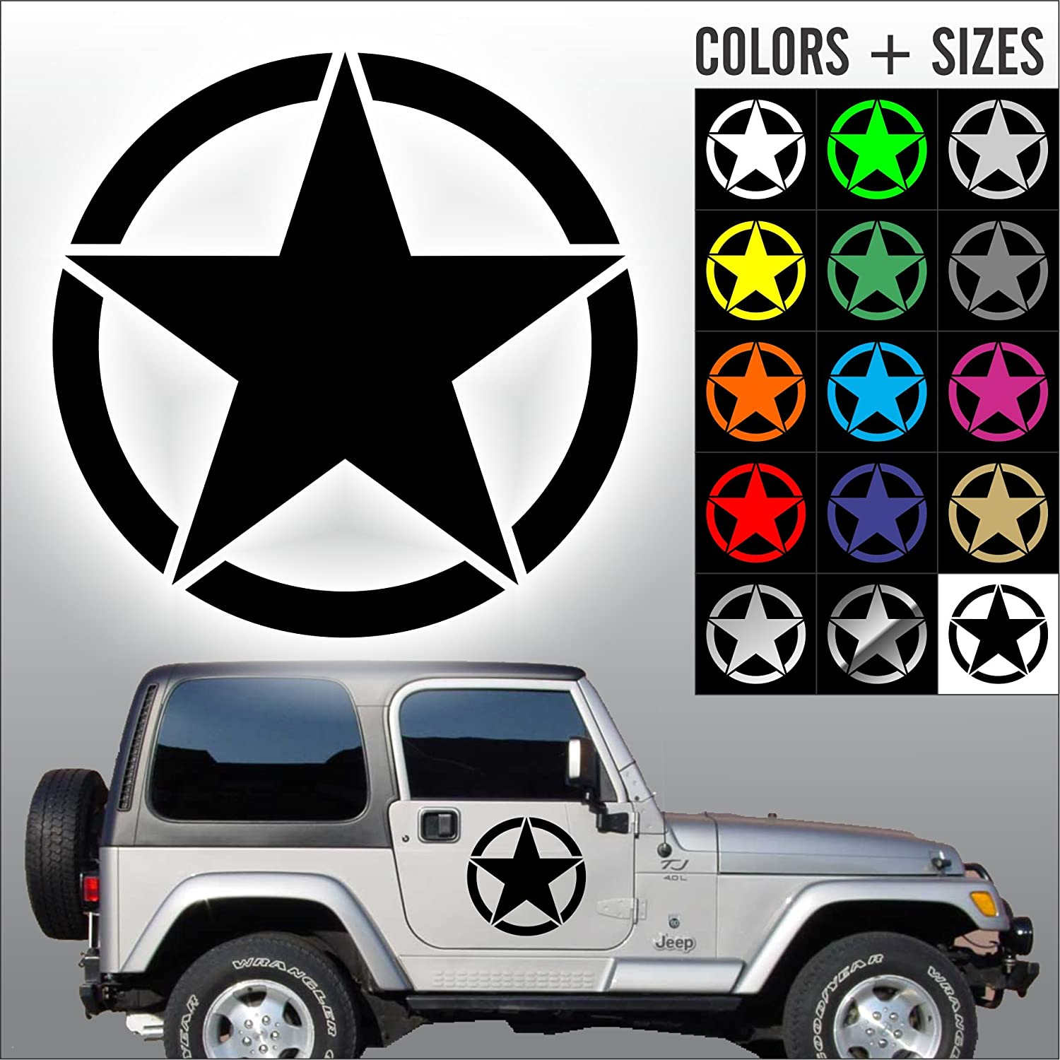 Amazon com army star decal jeep usmc military willys car decal sticker sizes and colors die cut no background 16 black automotive