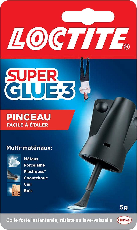 Loctite Super Glue-3 Pinceau, colle forte facile à utiliser avec son pinceau applicateur, colle liquide à séchage instantané, colle transparente, flacon de colle 5 g