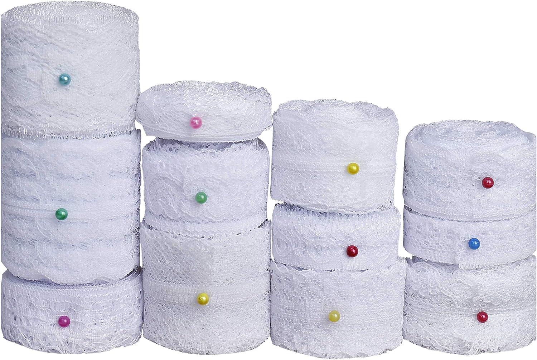 Cinta de Encaje 12 Rollos Blanco Floral Vintage Cordón de Ajuste de Encaje para Coser Manualidades Bricolaje y Nupcial de Boda para Decoración 60 Yardas