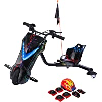 Toy&Joy Drifting Electric Scooter Black with Helmet Pad Set, Knee and Elbow Pads 36V, KD06(36v)