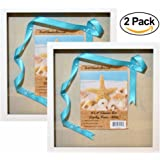 """12x12"""" White Display Shadow Box Frame (2-pack) with Linen Background - Ready To Hang Shadowbox Picture Frame - Easy to Use - Box Display, Baby and Sports Memorabilia, Uniforms, Medals, Pins, Wedding."""
