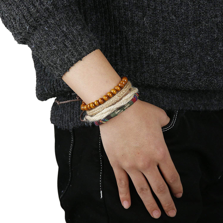 sailimue Gioielli in Pelle 15PCS Vintage Bracciali per Uomo Donna Braccialetti Braccialetto Perle di Legno Canapa Cords Etnico Tribal Charm Elastico