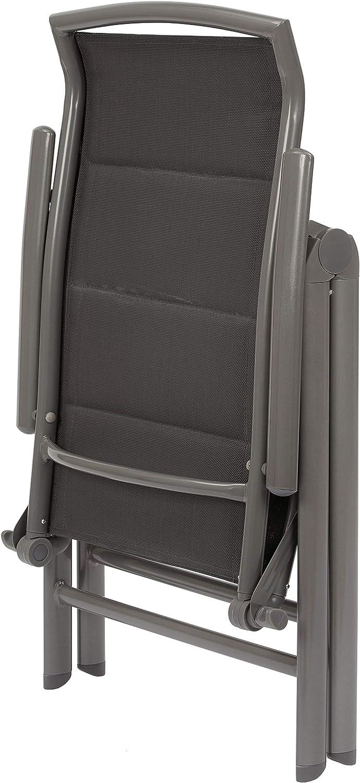 Antracite Sedie con Schienale Alto Pieghevole Resistente alle Intemperie Alluminio Brubaker Set di 2 Sedia da Giardino Milano Schienale Regolabile in 8 Posizioni