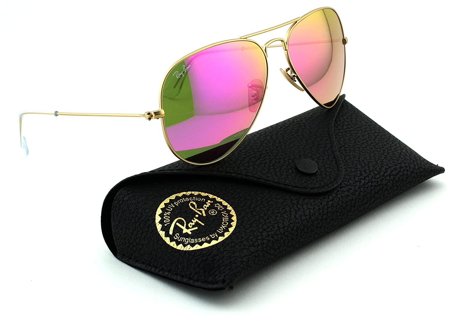 8faa662bfae Ray-Ban RB3025 Aviator Large Metal Mirrored Unisex Sunglasses (Matte Gold  Frame Pink Mirror Lens 112 4T