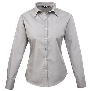 6e36cc0aa Premier Womens/Ladies Poplin Long Sleeve Blouse / Plain Work Shirt (22)  (Silver): Amazon.co.uk: Clothing