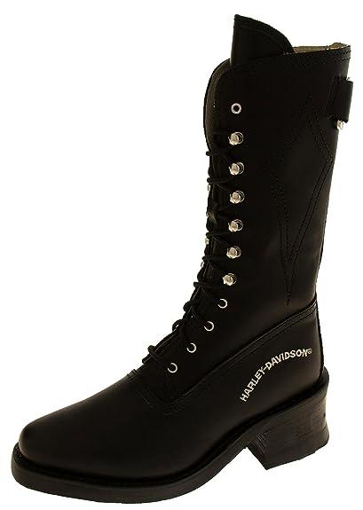 f067a4cb2a7990 Damen Harley Davidson Biker Boots Leder Mid Kalb Arbeit Stiefel Größe 4 5 6  7 7