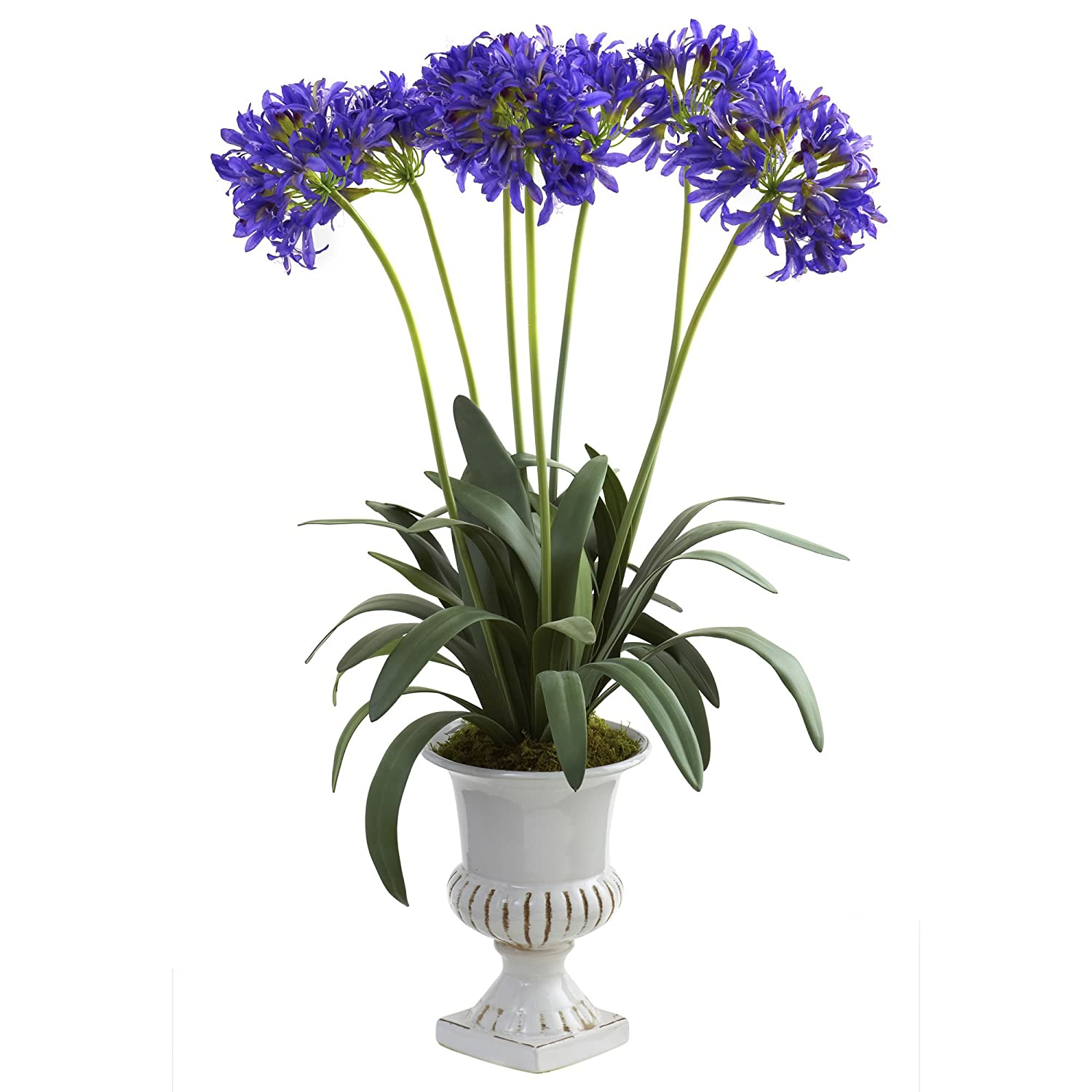 Nearly Natural 1332-PP African Lily with Urn, Purple