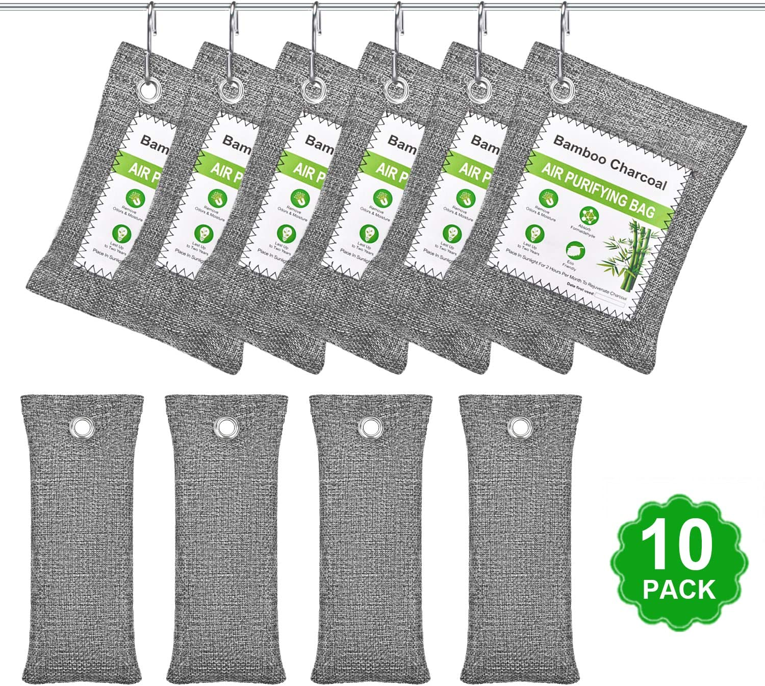 10 Pack Bamboo Charcoal Air Purifying Bag with 6 hooks, Nature Fresh Air Purifier Bags, Activated Charcoal Bags Odor Absorber for Room, Car Pet, Shoes, Gym Bag, Closet