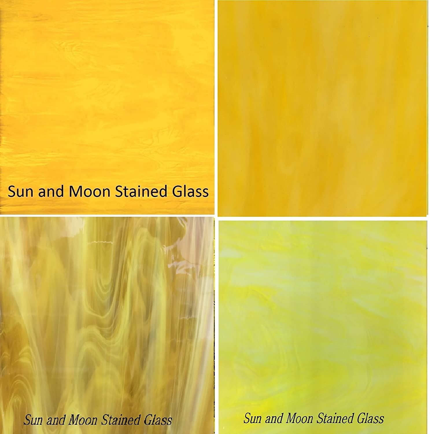YELLOW Stained Glass Sheet Pack Sun and Moon Stained Glass