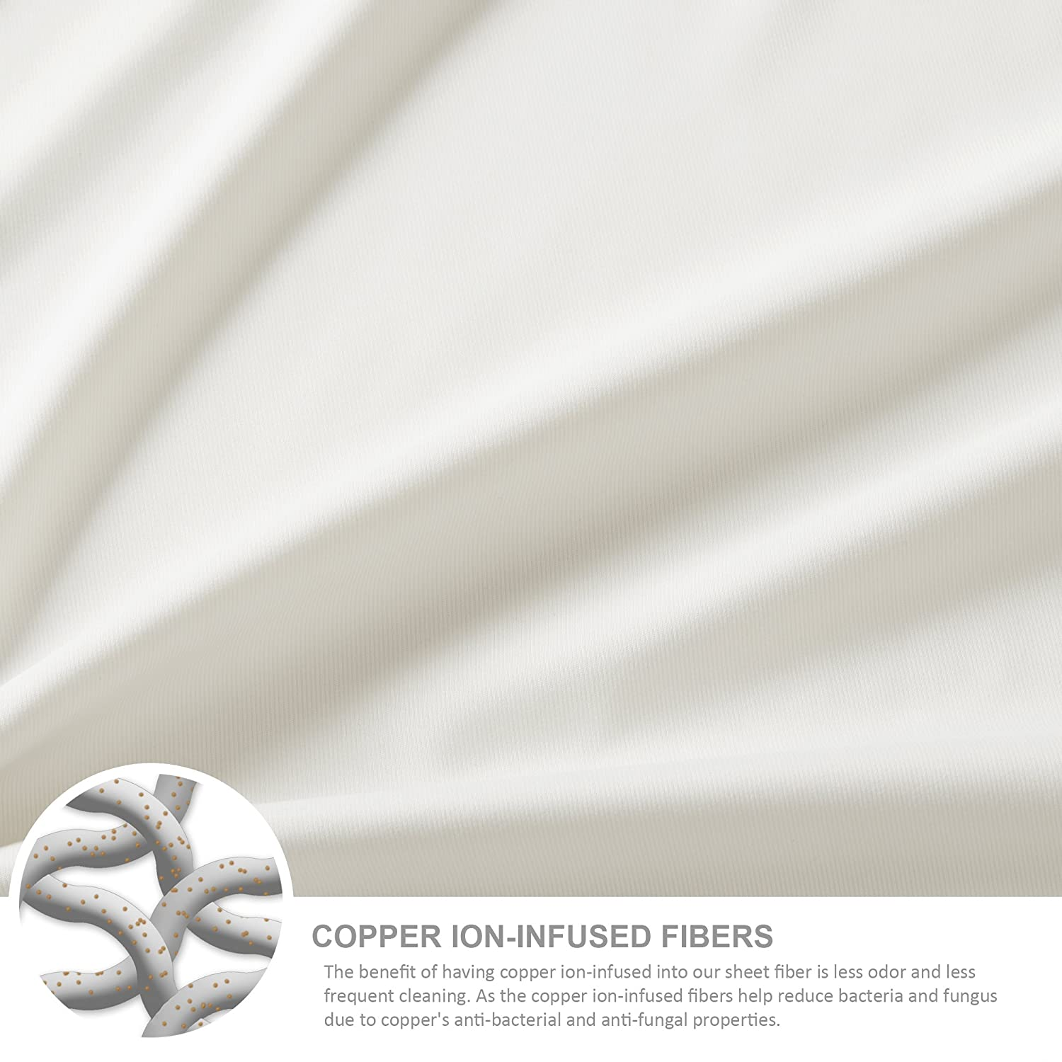 Amazon Copper Infused Bed Sheets Ivory King Size Sheets Set