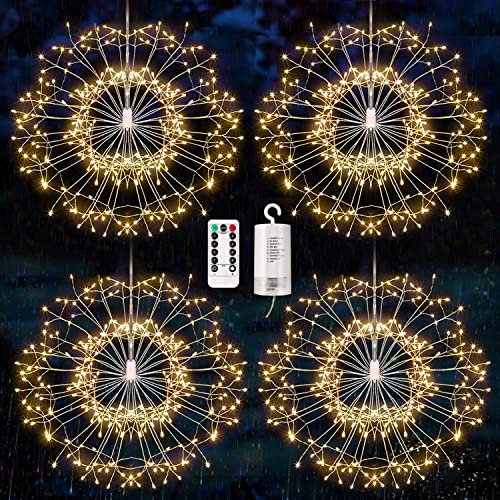 4 pack Firework Lights, Starburst Lights LED Copper Wire Fireworks Lights Fairy Lights Christmas Fireworks Hanging Dimmable String 8 Modes Waterproof with Remote Control for Christmas Wedding Garden