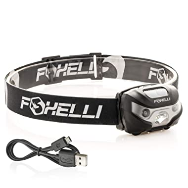 Foxelli USB Rechargeable Headlamp Flashlight - 160 Lumen, up to 30 Hours of Constant Light on a Single Charge, Super Bright White Led + Red Light, Compact, Easy to Use, Headlight for Camping & Running